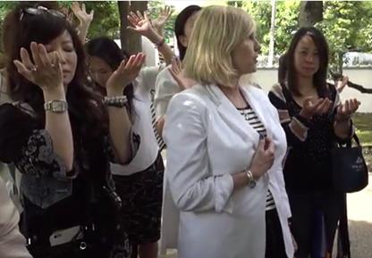 Kelly Hampton, energy healer, visiting Japan's Tree of Knowledge